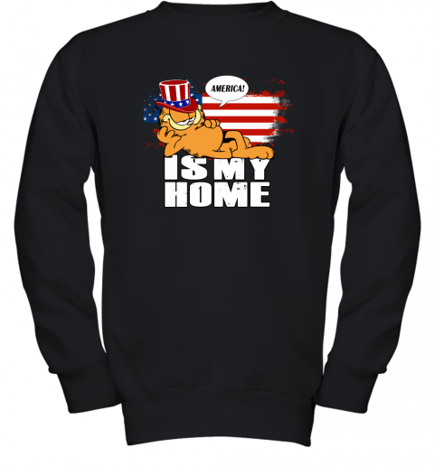 America Is My Home Garfield Independence Day 4th Of July Youth Sweatshirt
