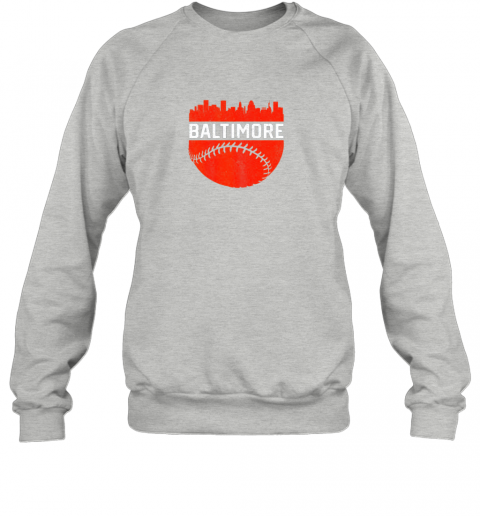 li17 vintage downtown baltimore maryland skyline baseball sweatshirt 35 front sport grey