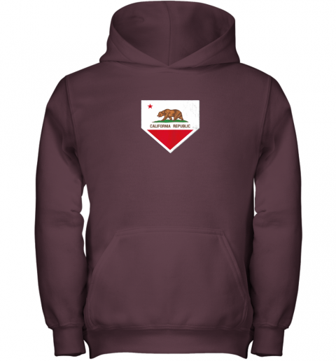 tw8b vintage baseball home plate with california state flag youth hoodie 43 front maroon