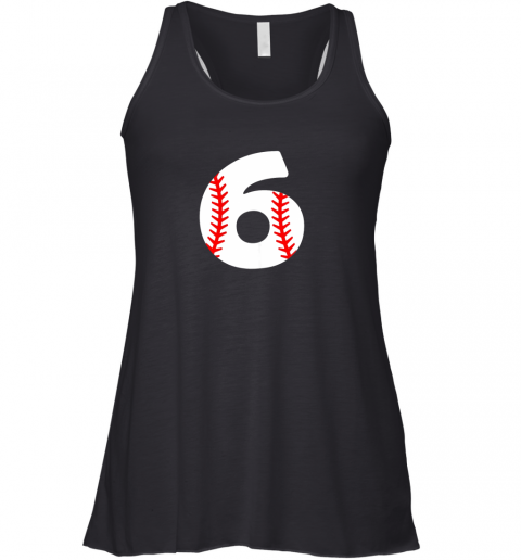 swor sixth birthday 6th baseball shirtnumber 6 born in 2013 flowy tank 32 front black