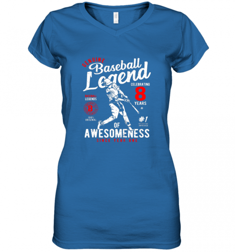ulvx kids 8th birthday gift baseball legend 8 years women v neck t shirt 39 front royal