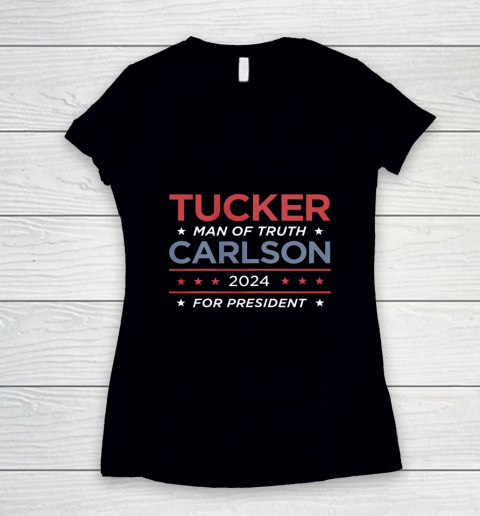 Vote For Tucker Carlson 2024 Presidential Election Campaign Women's V-Neck T-Shirt