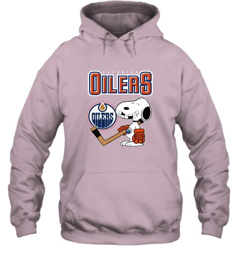 ubp1 edmonton oilers ice hockey broken teeth snoopy nhl shirt hoodie 23 front light pink