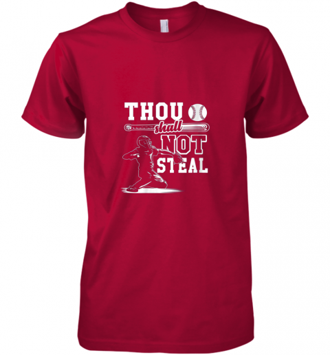 qjda funny baseball thou shall not steal baseball player premium guys tee 5 front red