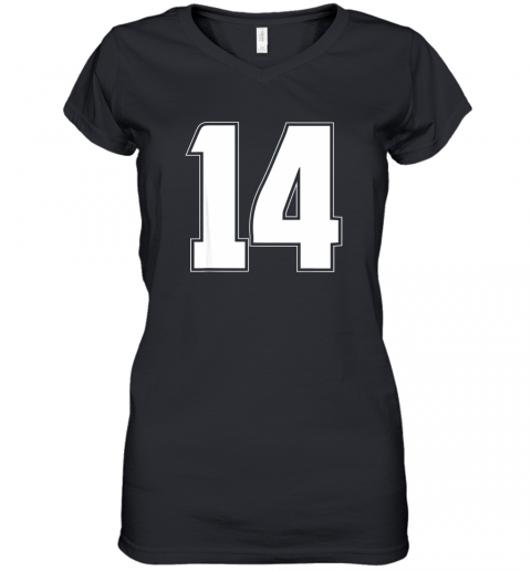 Halloween Group Costume #14 Sport Jersey Number 14 14th Bday Women's V-Neck T-Shirt