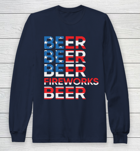 Beer Lover Funny Shirt Beer Fireworks 4th Of July Long Sleeve T-Shirt 2