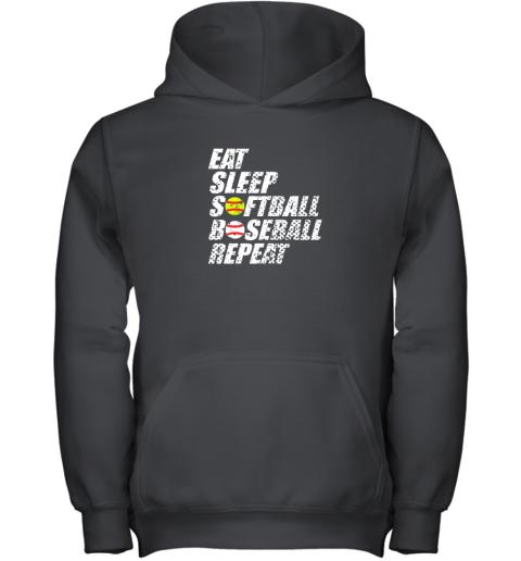 Softball Baseball Repeat Shirt Cool Cute Gift Ball Mom Dad Youth Hoodie