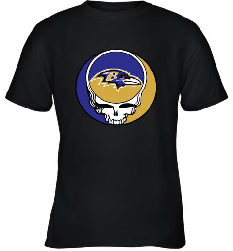 p7mh nfl team baltimore ravens x grateful dead youth t shirt 26 front black