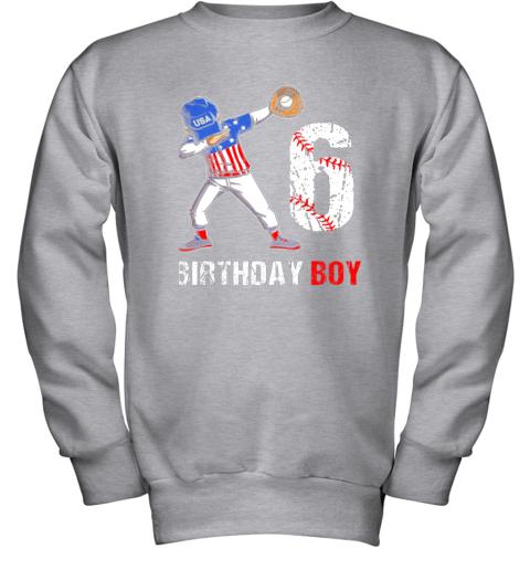 zcsm kids 6 years old 6th birthday baseball dabbing shirt gift party youth sweatshirt 47 front sport grey