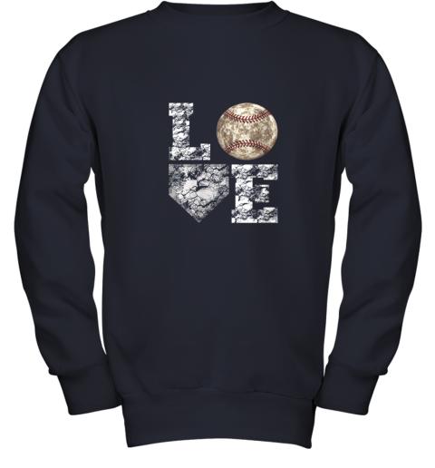 udrq baseball distressed ball cute dad mom love gift youth sweatshirt 47 front navy