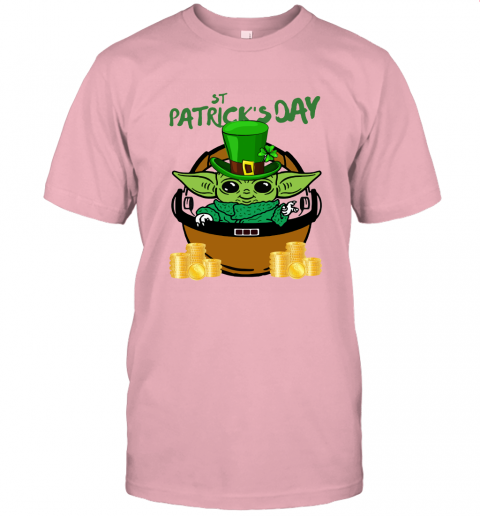 akfo baby yoda st patricks day outfit jersey t shirt 60 front pink