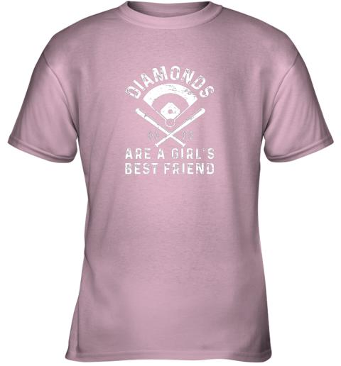 z1bo diamonds are a girl39 s best friend baseball youth t shirt 26 front light pink