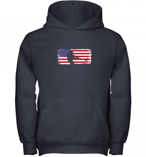 s6qo usa american flag baseball player perfect gift youth hoodie 43 front navy