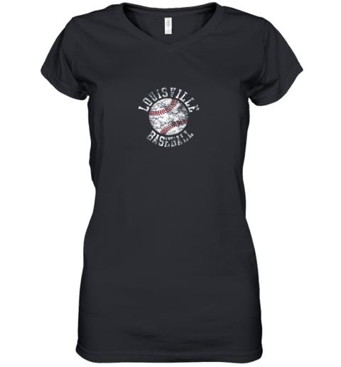Vintage Louisville Baseball Women's V-Neck T-Shirt