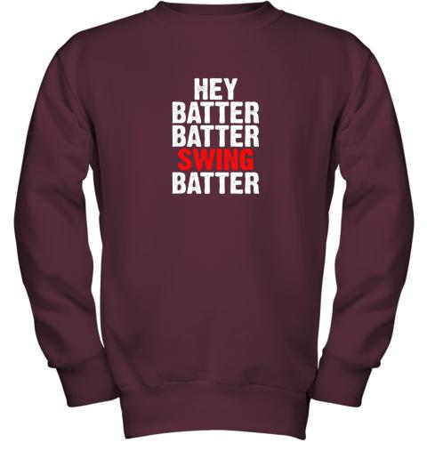 itil hey batter batter swing batter funny baseball youth sweatshirt 47 front maroon