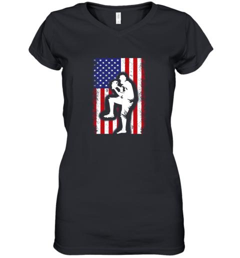 Vintage USA American Flag Baseball Player Team Gift Women's V-Neck T-Shirt