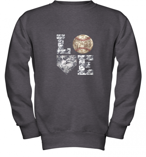 udrq baseball distressed ball cute dad mom love gift youth sweatshirt 47 front dark heather