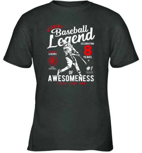 rgm8 kids 8th birthday gift baseball legend 8 years youth t shirt 26 front dark heather