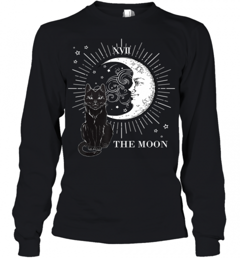 Vintage Scary Halloween Black Cat and Moon Costume Gift Youth Long Sleeve