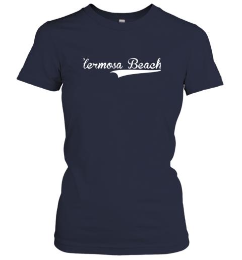 nszm hermosa beach baseball softball styled ladies t shirt 20 front navy