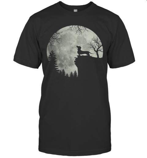 Dachshund dog moon howl in forest Halloween dog Dachshund T-Shirt