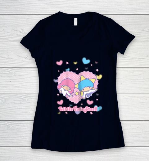 Little Twin Stars Retro Logo Valentine Women's V-Neck T-Shirt 2