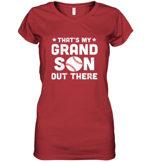 wrkx grandma that39 s my grandson out there baseball women v neck t shirt 39 front red