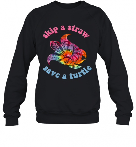 Skip A Straw Save A Turtle Tribal Retro 90's Aesthetic Long Sleeve Sweatshirt