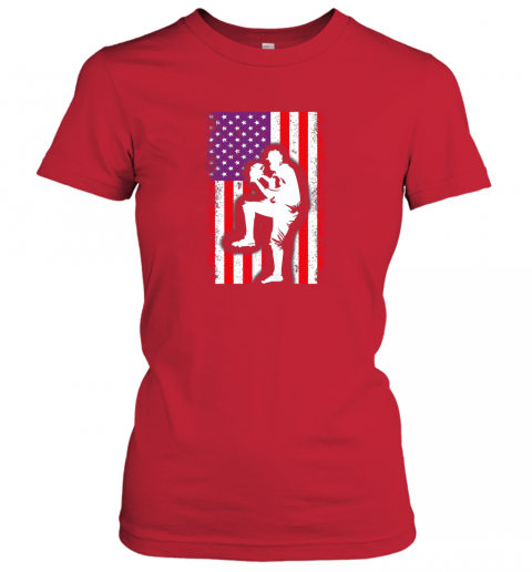 x8ce vintage usa american flag baseball player team gift ladies t shirt 20 front red