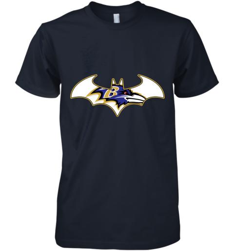 pdry we are the baltimore ravens batman nfl mashup premium guys tee 5 front midnight navy