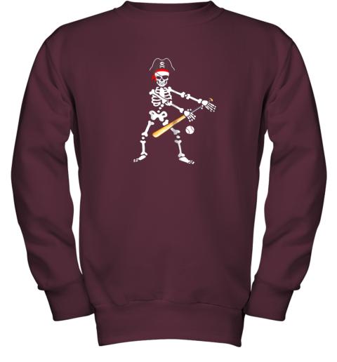 lolx skeleton pirate floss dance with baseball shirt halloween youth sweatshirt 47 front maroon