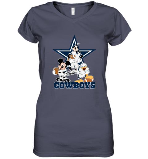 Mickey Donald Goofy The Three Dallas Cowboys Football Women's V-Neck T-Shirt