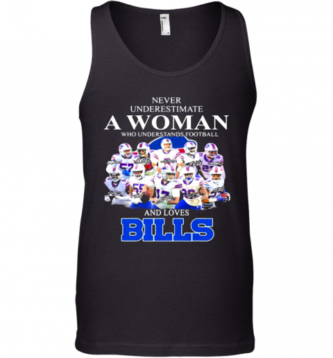 Never Underestimate A Woman Who Understands Football And Loves Bills Symbol Buffalo Tank Top
