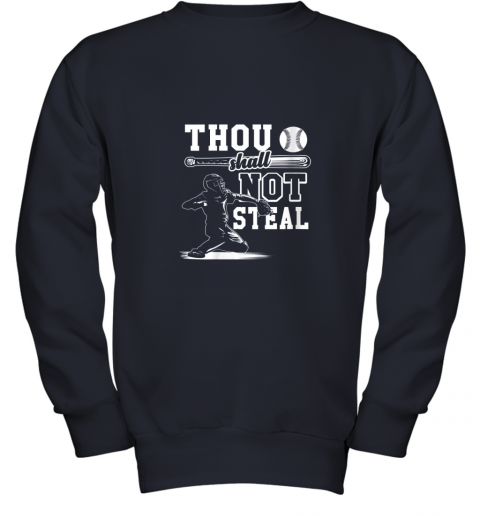 evqh funny baseball thou shall not steal baseball player youth sweatshirt 47 front navy
