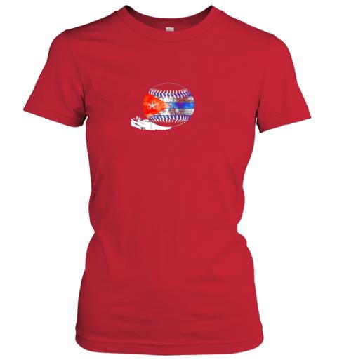 6pdk vintage baseball cuba flag shirt cuban pride ladies t shirt 20 front red