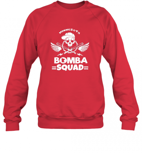 ryqb bomba squad twins shirt minnesota baseball men bomba squad sweatshirt 35 front red