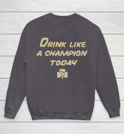 Beer Lover Funny Shirt Drink Like a Champion  South Bend Style Dark Blue Youth Sweatshirt 5