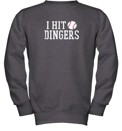 rwc2 i hit dingers shirt for sluggersfunny baseball youth sweatshirt 47 front dark heather