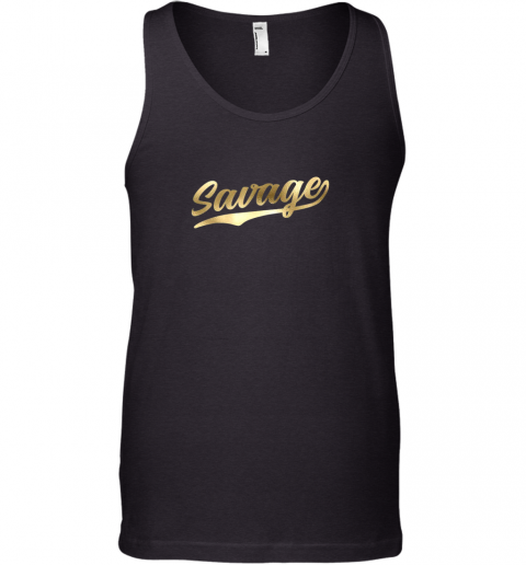 Savage Shirt Retro 1970s Baseball Script Font Tank Top