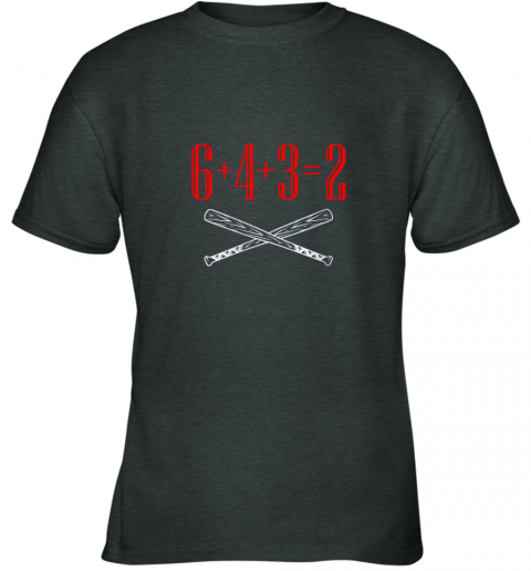 thrj funny baseball math 6 plus 4 plus 3 equals 2 double play youth t shirt 26 front dark heather