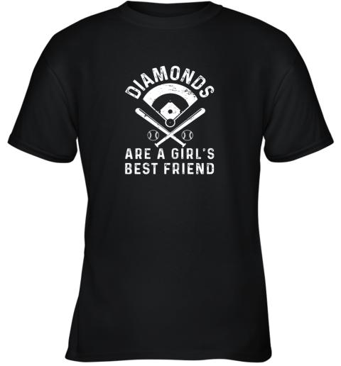 Diamonds are a Girl's Best Friend Baseball Youth T-Shirt