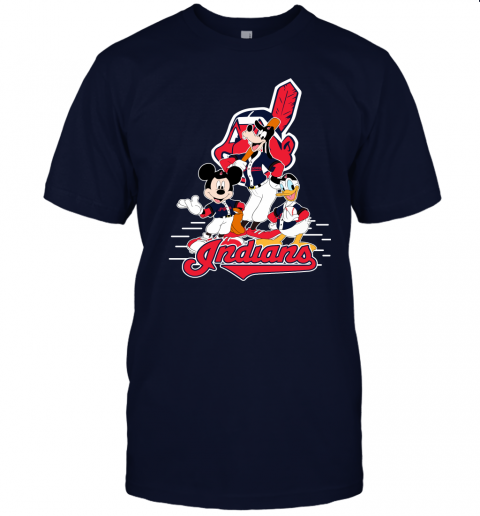 j8x3 cleveland indians mickey donald and goofy baseball jersey t shirt 60 front navy