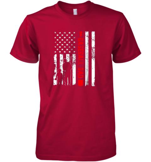xtb5 mens proud baseball dad american flag sports premium guys tee 5 front red