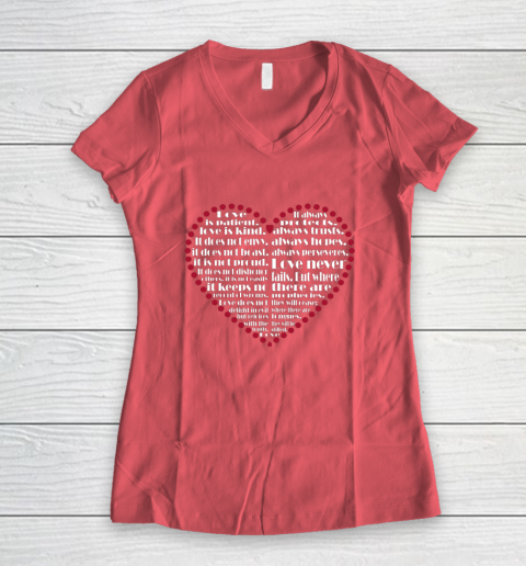 Love is patient love is kind Valentine Hearts Valentines day Women's V-Neck T-Shirt 4