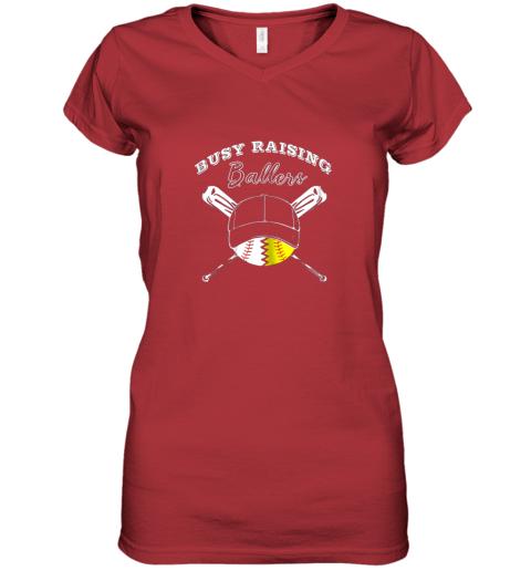 32fr busy raising ballers softball baseball mom funny gift women v neck t shirt 39 front red