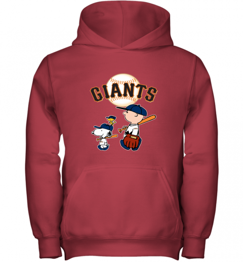 n6v6 san francisco giants lets play baseball together snoopy mlb shirt youth hoodie 43 front red