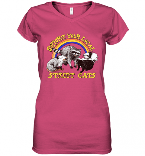 mpwk support your local street cats trash panda skunk wild animal shirts women v neck t shirt 39 front heliconia