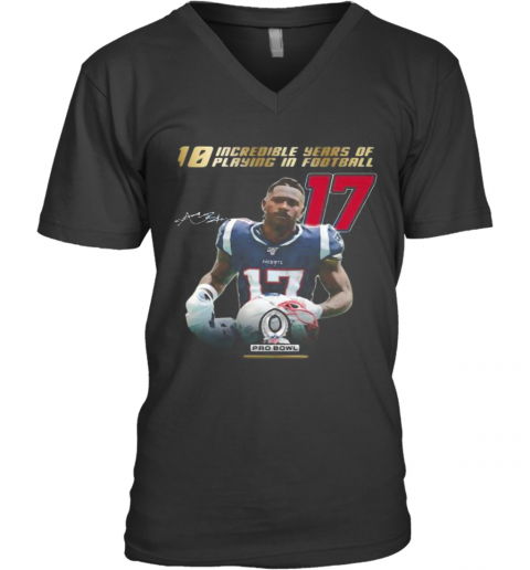 10 Incredible Years Of Laying In Football 17 Antonio Brown New England Patriots Signature V-Neck T-Shirt