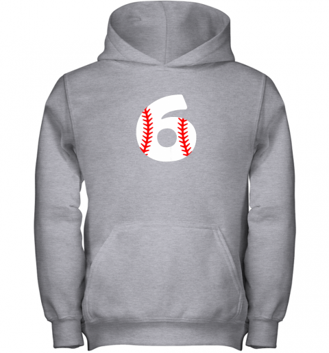 zajz sixth birthday 6th baseball shirtnumber 6 born in 2013 youth hoodie 43 front sport grey