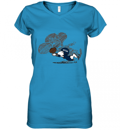 Seattle Seahawks Snoopy Plays The Football Game Women's V-Neck T-Shirt